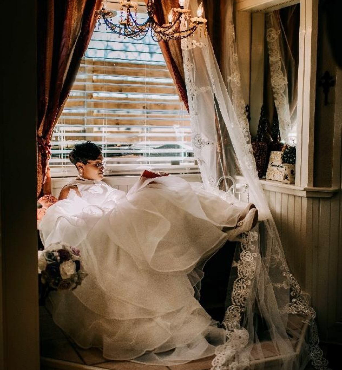 bride in the bridal space at Wylde Acres